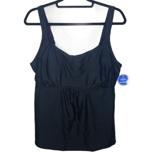 NWT Swimsuits For All black tankini top size 18